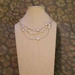 Napier NWT silver beaded 3 strand Necklace